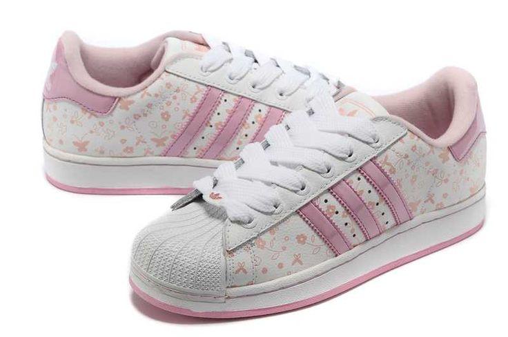 Womens Adidas Superstar II Butterflies Flowers White Pink