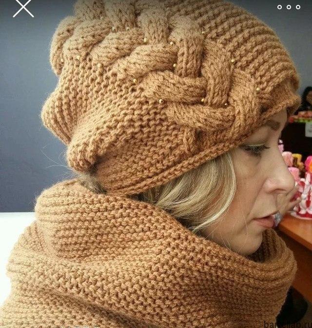 Модная шапка спицами со жгутом. Узор для женской шапки | Домоводство для всей семьи