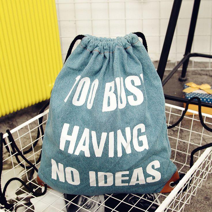 $5.82 (Buy here: https://alitems.com/g/1e8d114494ebda23ff8b16525dc3e8/?i=5&ulp=https%3A%2F%2Fwww.aliexpress.com%2Fitem%2F2017-New-Fashion-Denim-Women-Backpack-Letter-Printing-Travel-Softback-Women-Mochila-Drawstring-Bag-School-Girls%2F32785930120.html ) 2017 New Fashion Denim Women Backpack Letter Printing Travel Softback Women Mochila Drawstring Bag School Girls Backpacks for just $5.82