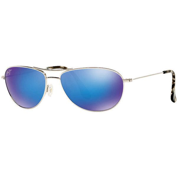 Maui Jim 245 Baby Beach 56 Silver Shiny Aviator Sunglasses ($300) ❤ liked on Polyvore featuring accessories, eyewear, sunglasses, maui jim, beach glasses, silver aviator sunglasses, lens glasses and maui jim eyewear