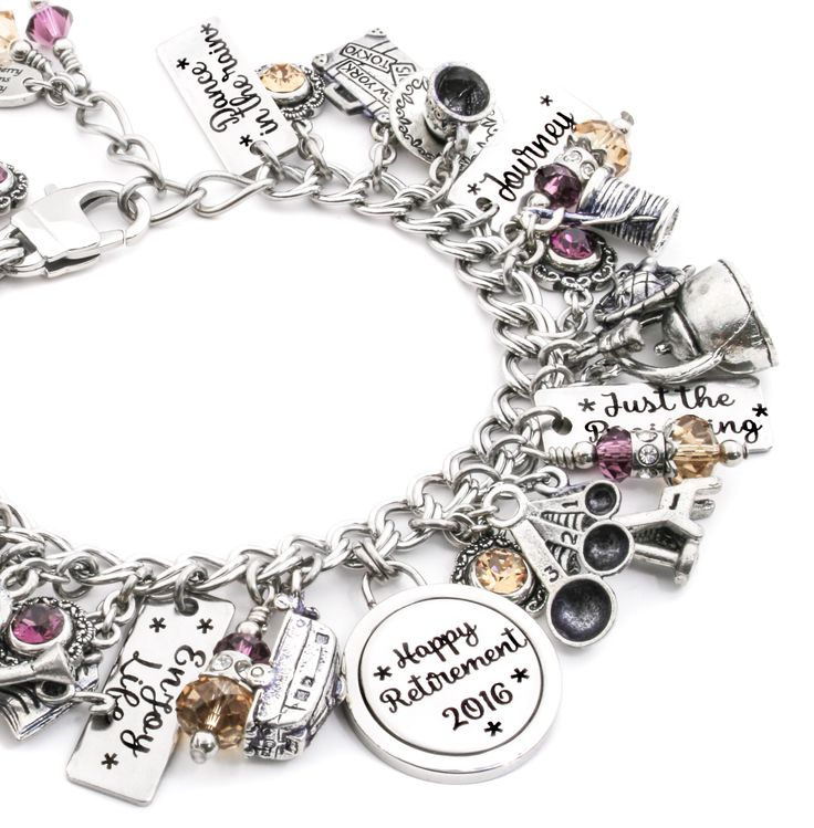 What an amazing Retirement Bracelet for that special someone for the next chapter in their life! This bracelet is personalized with your choice of Swarovski® crystals, 12 Charms, and their name and ye