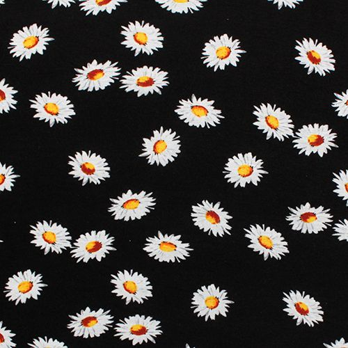 White Daisy on Black Cotton Spandex Blend Knit Fabric - On ...