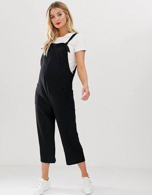 da61579a6f3b5 New Look Maternity linen dungarees in Black in 2019 | shopping 2019 |  Dungarees, Pants, Overalls