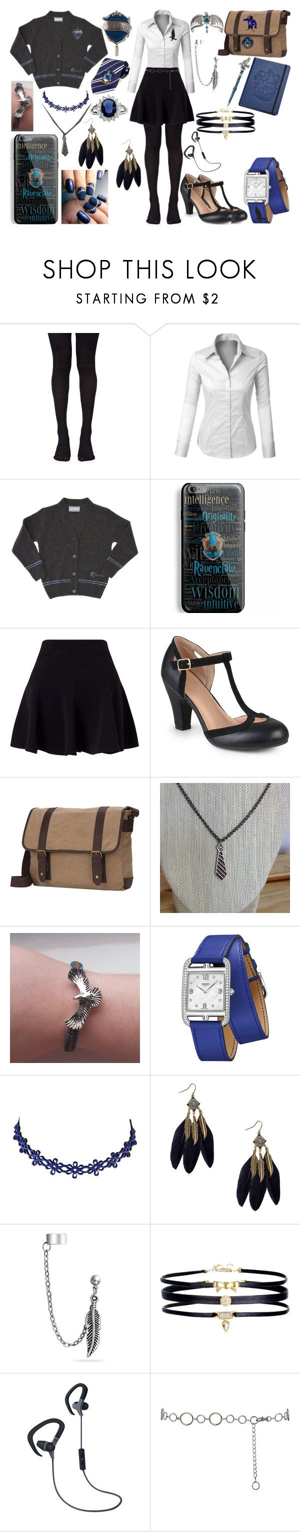 """""""Ravenclaw"""" by vampirekitty34 ❤ liked on Polyvore featuring Music Legs, LE3NO, CO, Samsung, Miss Selfridge, Journee Collection, Goodhope Bags, Hermès, Bling Jewelry and Merkury"""