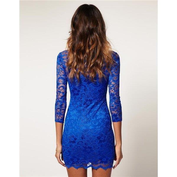 Где купить кружевное синее платье