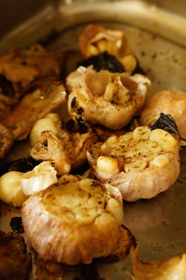 Oyster Mushrooms with Herb Roasted Garlic | Recipe ...