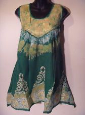 L XL 1X 2X Long Tunic Batik Tie~Dye Green Gold Smock~Style Top 1~Size PLUS #31