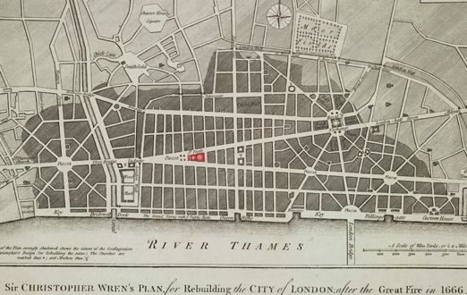 Wren's plan for the rebuilding of the City of London, following the Great Fire of 1666