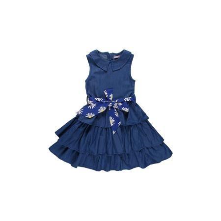 Sweet Berry Платье для девочки Sweet Berry  — 1484р. ----------- Платье на девочку из тончайшей джинсы, отрезное по талии. Отложной воротничок. Пышная юбка из воланов. Принтованный пояс из хлопка. Состав: 100% хлопок