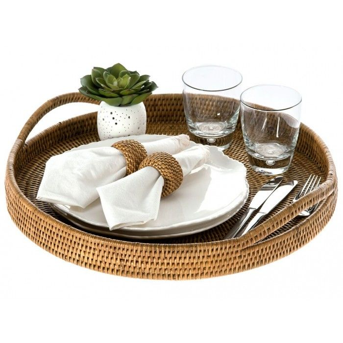 La Joall Round Serving Tray - Honey Brown Rattan