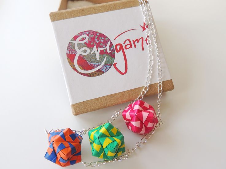 """Trichotomy"" necklace. Made from 36 sheets of folded origami paper. Perfect to put a bit of colour in your winter wardrobe!"