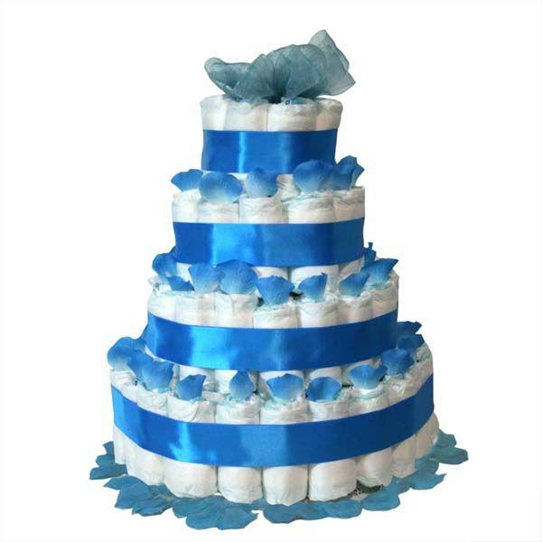 Tarta de pañales pétalos azul, un regalo original y muy práctico.