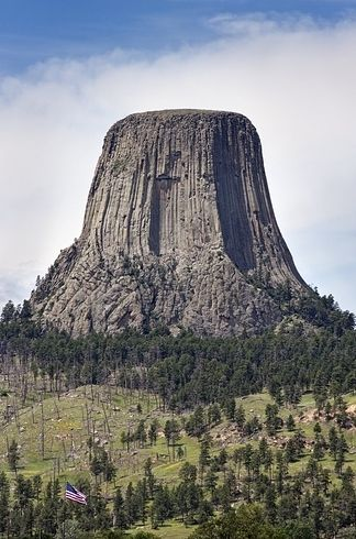 Devils Tower, Wyoming - a giant igneous intrusion that rises 5,000-plus feet above sea level.