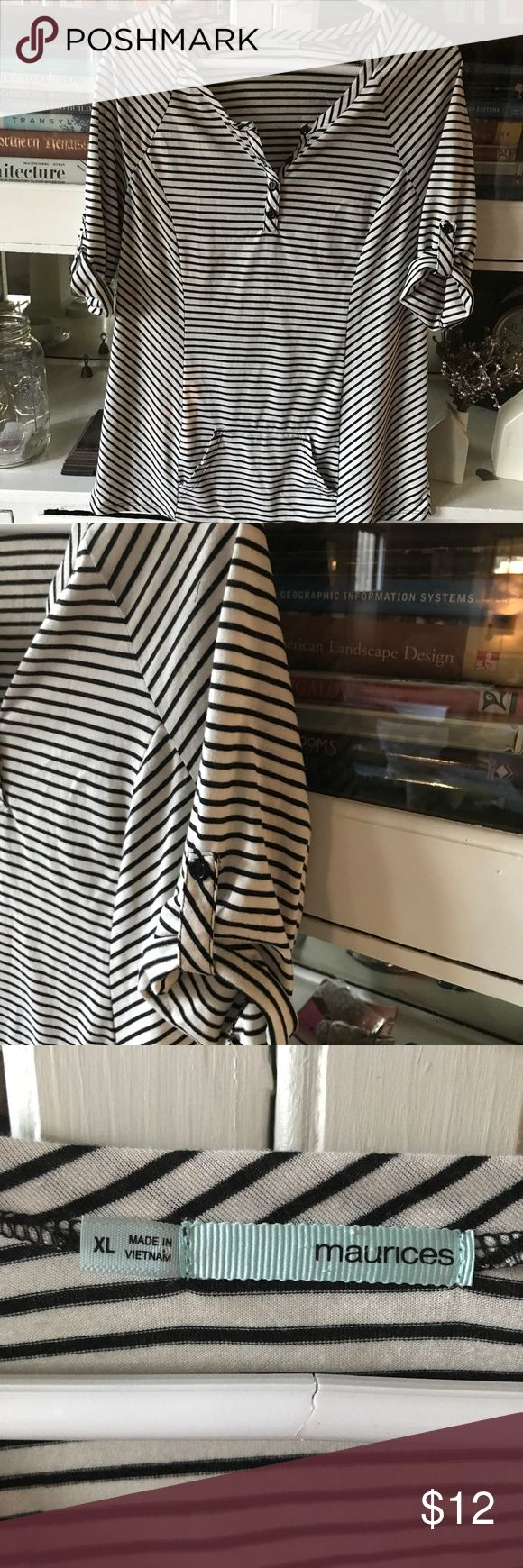 Black and White Striped Shirt! Maurice's XL black and white striped shirt. Cute roll up sleeves with button tab stay. Sweatshirt pocket on the front.  Make me an offer!! Maurices Tops Tees - Long Sleeve