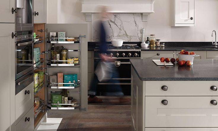 Fitzroy is a classic shaker style kitchen with a smooth painted finish, shown here in a combination of porcelain and stone.