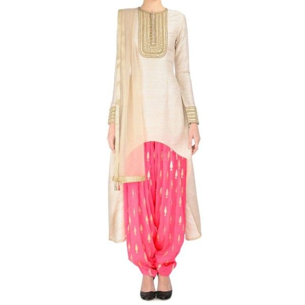 Georgette Cream Embroidered Semi Stitched Patiala Style Suit - SSSS39