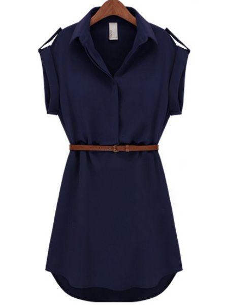 Navy Lapel Short Sleeve Loose Chiffon Dress
