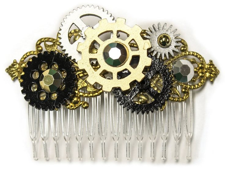 Detailed Steampunk Gears Hair Piece with Clear Comb