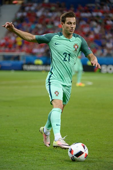 #EURO2016 Cedric in action for Portugal during the UEFA EURO 2016 semi final match between Portugal and Wales at Stade des Lumieres on July 6 2016 in Lyon...