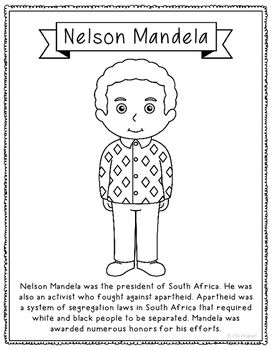 Nelson Mandela Biography Coloring Page or Poster. Makes a great addition to history interactive notebooks or research unit! Plenty of open space surrounds the picture to add in your creativity. Or the figure can be colored and cut out for your class projects!