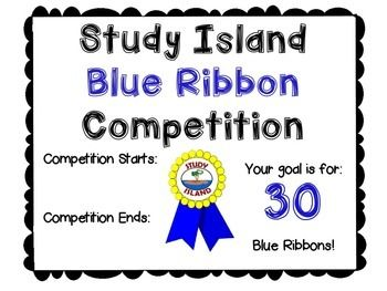 We are fortunate to have Study Island as an excellent resource in our school district.  The other 4th grade teacher and I have a blue ribbon competition from mid-term to mid-term during the year.  Most of the time we require our students to earn 30 blue ribbons during this time.
