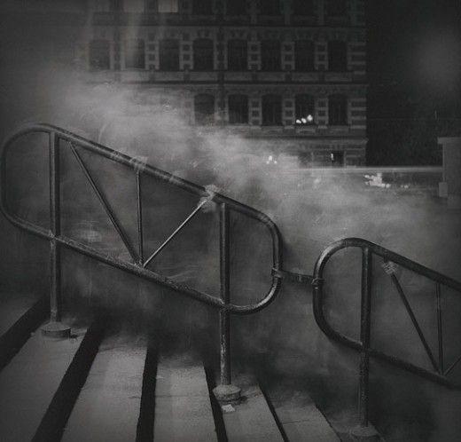 Very gloomy, eerie long exposure shot.