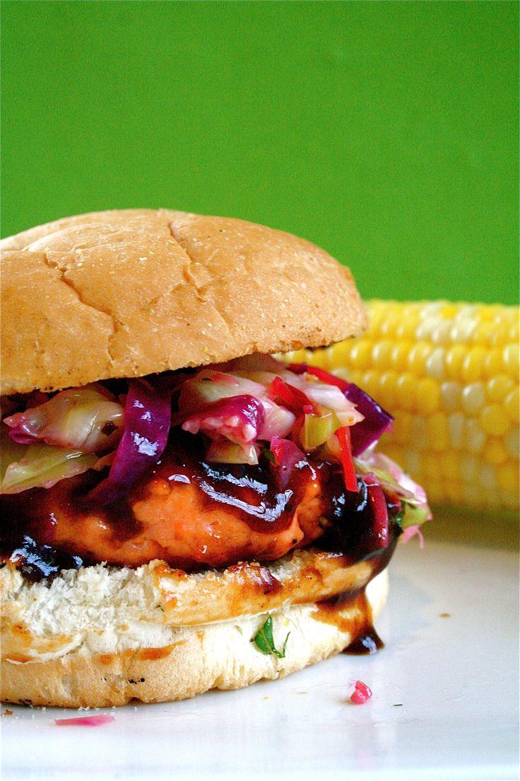 Salmon Burger with BBQ Hoisin Sauce