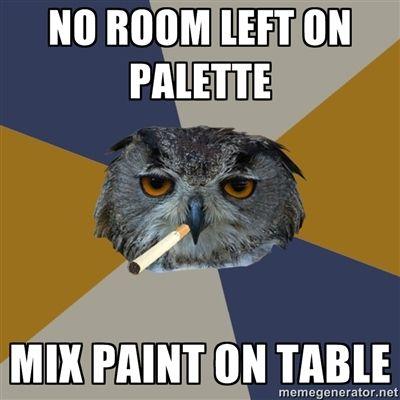 Artist humor - owl art student meme