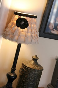 Drab to Fab: No Sew Ruffle Lamp Shade I am thinking living room lamps and making throw pillows with the same fabric!