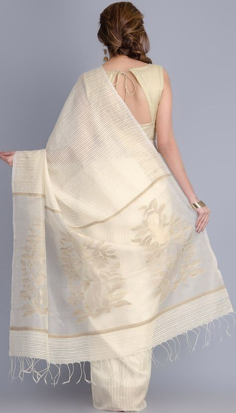A white handloom saree. i would love to wear this saree.