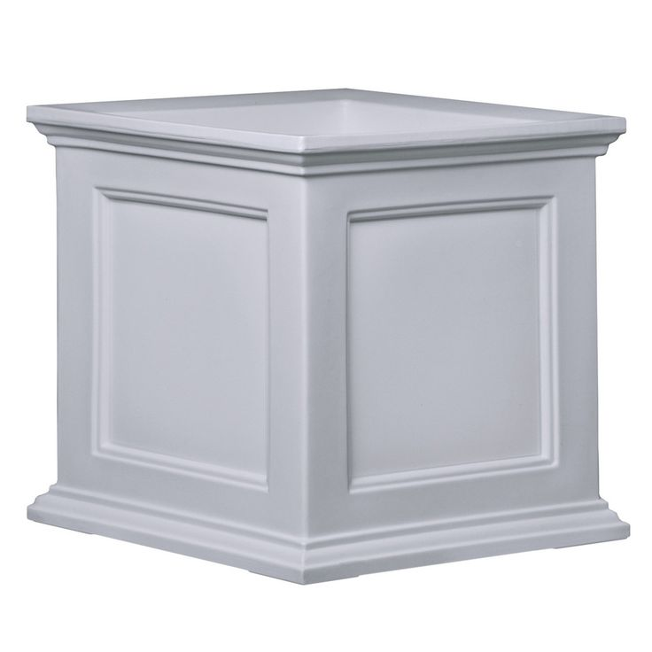 White 20-inch Square Patio Planter Box