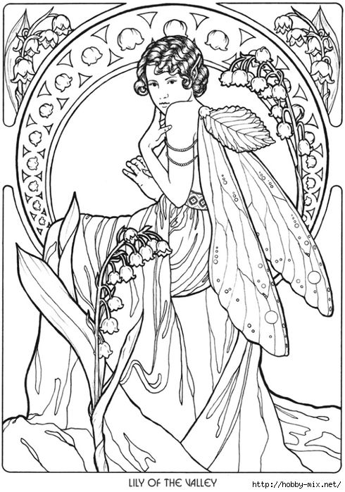 Lily of the Valley Fairy Fae Fantasy Myth Mythical Mystical Legend Elf Wings Fantasy Elves Faries Coloring pages colouring adult detailed advanced printable Kleuren voor volwassenen coloriage pour adulte anti-stress