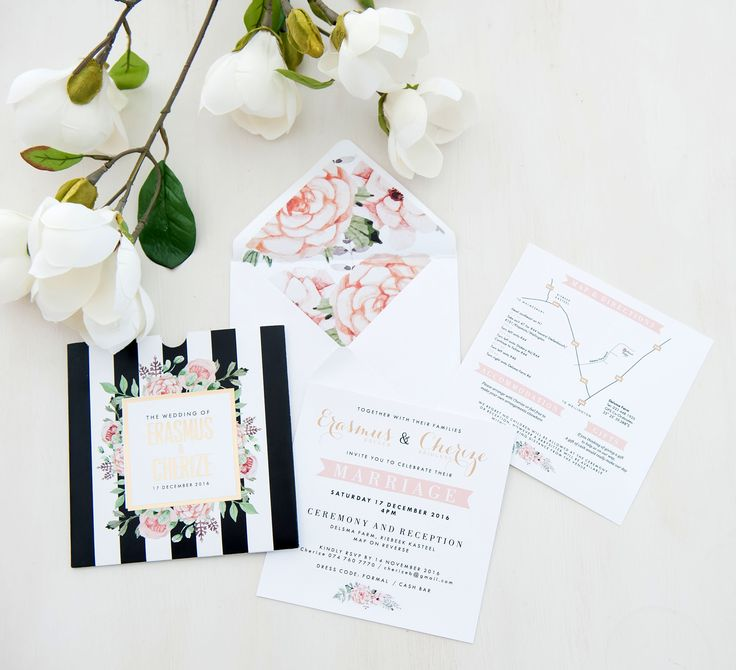 Stripes vs Florals - a striking combination in this pocket and gold foiled  wedding invitation.