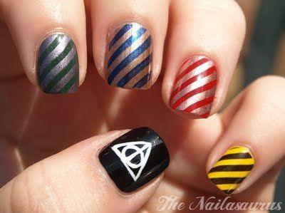 : Hp Nails, Nails Art, Nailart, Harry Potter Nails, Death Hallows, Beautiful, Deathly Hallows, Harry Potter Houses, Nail Art