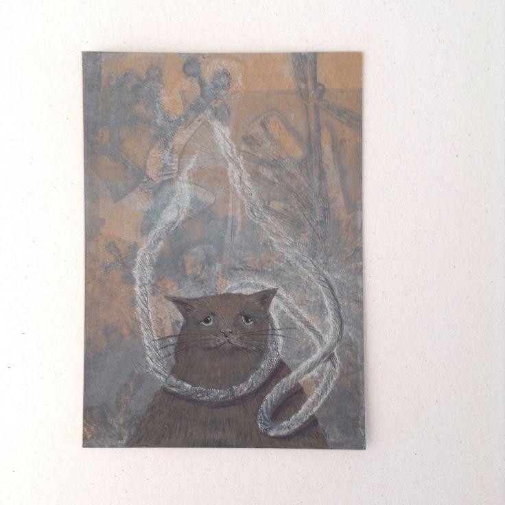 Original Cat card of gelliprint & watercolour . Original Art. Art card. by…