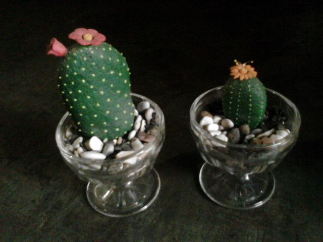 Kaktus Batu Kaktus dari batu dilukis, untuk penghias ruang atau taman.