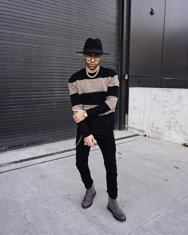"""1,943 Likes, 65 Comments - R I C H E $ (@ryriches) on Instagram: """"Chain detail striped jumper & extreme shredded jeans paired with the grey suede chelsea boots by…"""""""