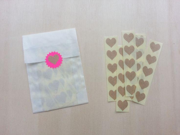Stickers, mini hart, kraft, 70 stuks