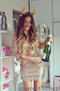 Sukienka z cekinami (rose gold) #fashionbloggerstyle #styleeve #fashion #sequindress