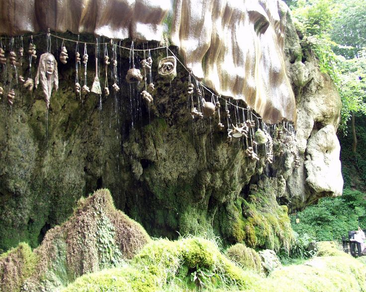 "Mother Shipton's Cave (or ""Old Mother Shipton's Cave"") is at Knaresborough, North Yorkshire, England, near to the River Nidd. Nearby is a petrifying well which has been a tourist attraction since 1630 due to its association with the legendary soothsayer and prophetess Mother Shipton."