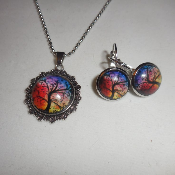 Tree of life Necklace and Earrings, Leverback earrings, comes with chain by ZephyrGemsandEtc on Etsy
