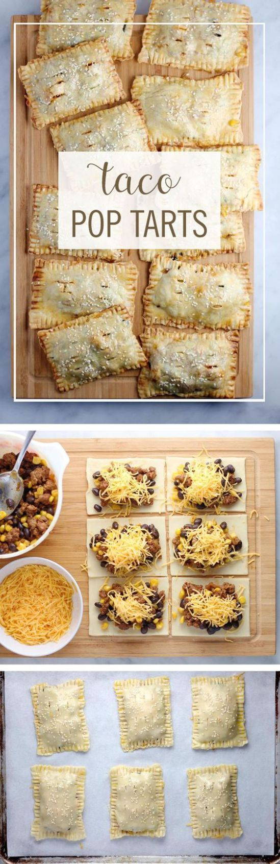 """Taco Pop Tarts Recipe via Babble """"These Taco Pop Tarts are a perfect way to turn your favorite breakfast pastry into dinner. Take your typical taco ingredients and turn them into this delicious on-the-go dinner."""" - The BEST 30 Minute Meals Recipes - Easy, Quick and Delicious Family Friendly Lunch and Dinner Ideas"""
