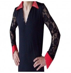 Black red patchwork colored red collar and cuffs lace sleeves men's mans male mens latin ballroom waltz tango dance shirts tops