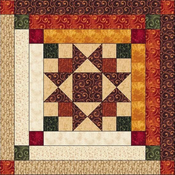 Log Cabin Quilt Pattern – Ohio Star in Log Cabin -Star in the Cabin – King Size: 103″ x 103″