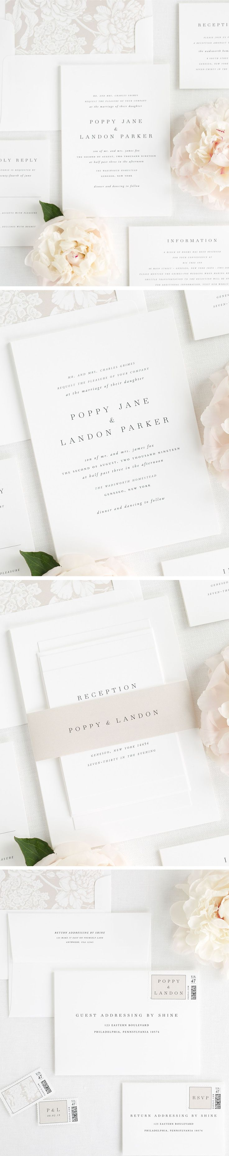 Meet Poppy, our simple and sophisticated wedding invitation design new for 2017. Poppy has a mix of classic and romantic elements which makes this design so gorgeous. Italics and small caps play a big role in creating such a simple design that is perfect suite for a timeless and classic wedding. Paired with a mocha floral envelope liner and a mocha belly band, I'm sure you will be just as obsessed with Poppy as we are. Create the wedding invitation of your dreams with Shine!