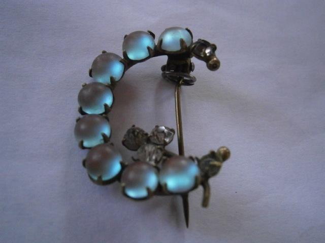 "Antique SAPHIRET Star Brooch Pin ""C"" Crescent Clasp Rhinestones Cabochon"