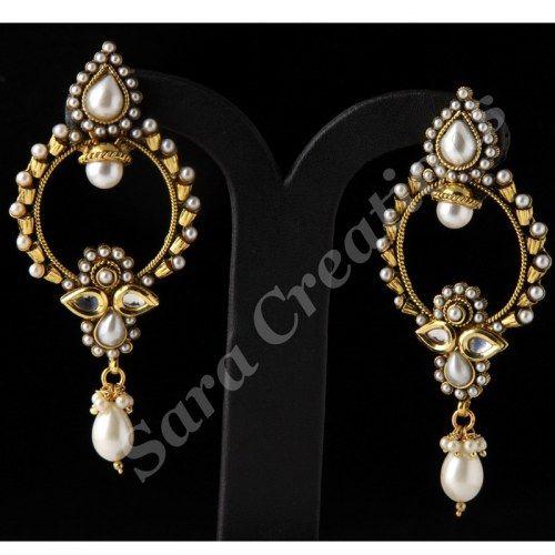 Jaipuri Polki Partywear Earring Scer 1254