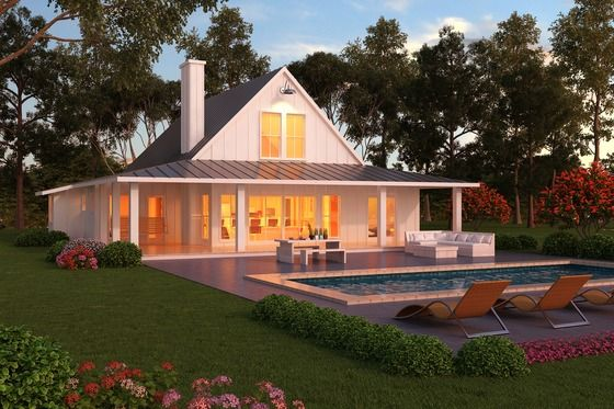 Farmhouse/barn inspired home. In red, please! And i'll trade the pool for a pond or creek. :-) Houseplans.com