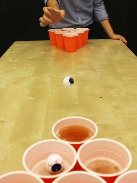 "Halloween cup pong""no honey I wasn't playing cup pong I was just throwing eyeballs into red solo cups"""