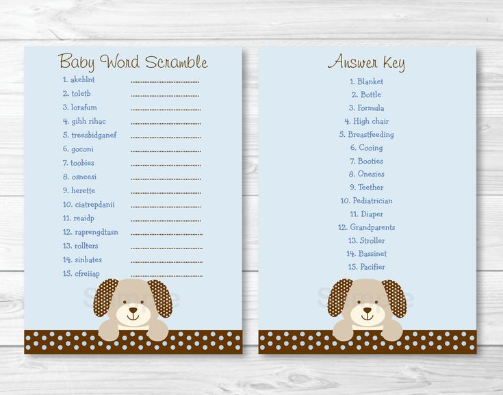 Puppy Dog Baby Word Scramble / Baby Shower by LittlePrintsParties